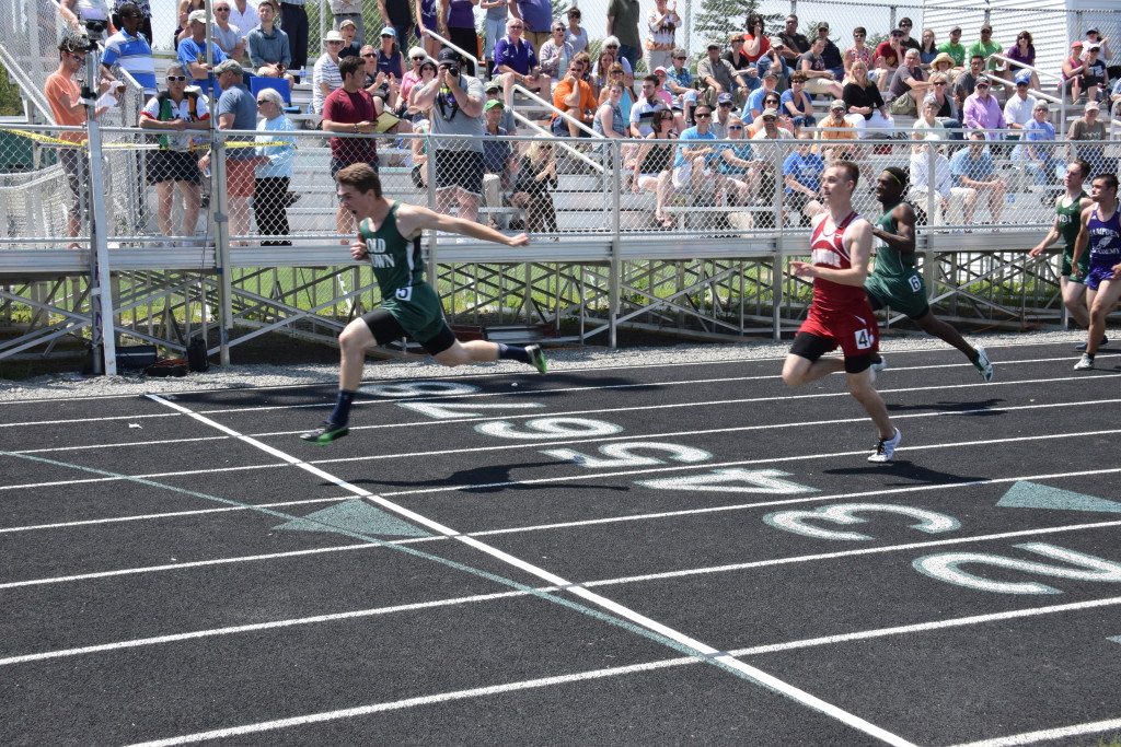 Nick Boutin wins the 100m dash at the 2015 PVC Large School Championship Meet